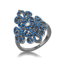 Victoria 1.23ct Sapphire CZ Hematite Filigree Cocktail Ring - $35.00