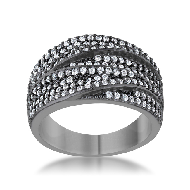 Kina 1.7ct Clear And Jet Black CZ Hematite Contemporary Cocktail Ring