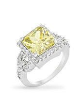 Halo Style Princess Cut Peridot Cocktail Ring - $28.00