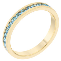 Stylish Stackables Aqua Crystal Gold Ring - $12.00