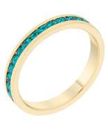 Stylish Stackables Turquoise Crystal Gold Ring - $12.00