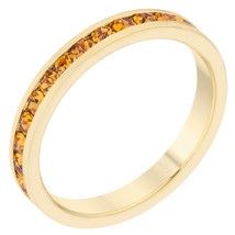Stylish Stackables Yellow Crystal Gold Ring - $12.00