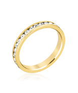Stylish Stackables Clear Crystal Gold Ring - $12.00