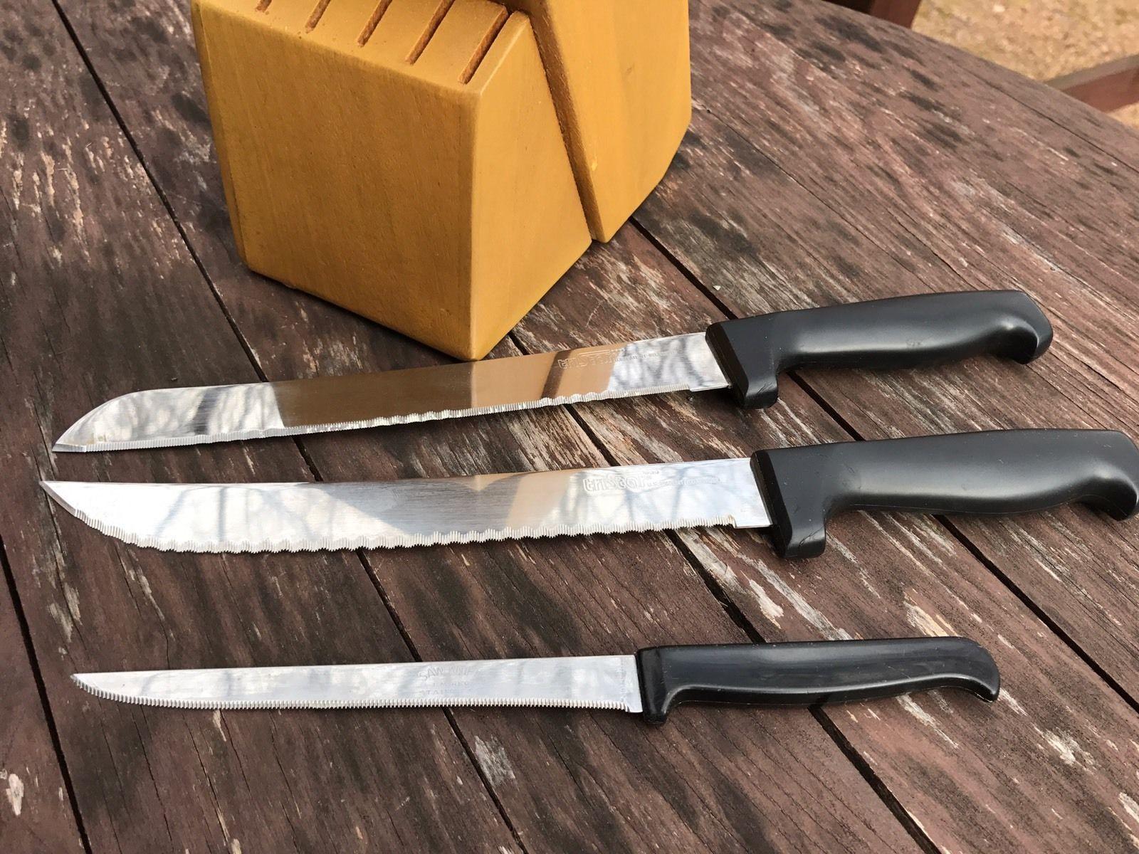Vtg Solid Wood Knife Block Holder 14 Slot 2 Tri Star Knives 1 Saw-Knife Cutlery!