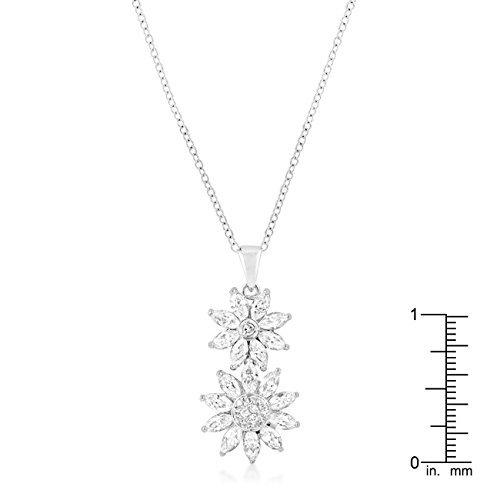 Silvertone Dual Floral Pendant