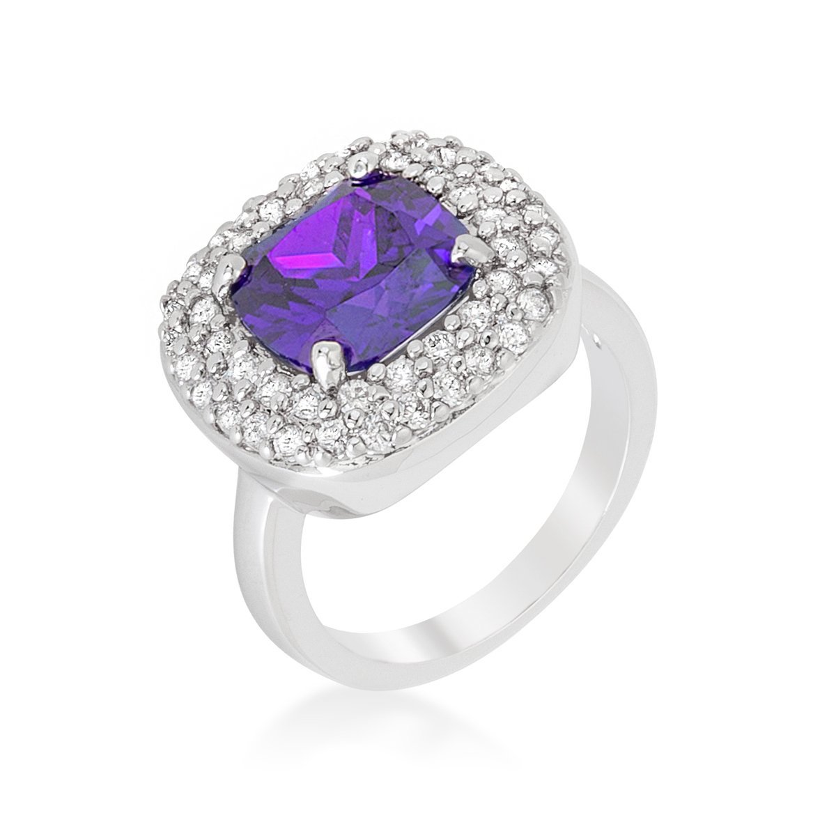Rhodium Plated Bridal Cocktail Ring with Cushion Cut Amethyst Purple CZ Size 10