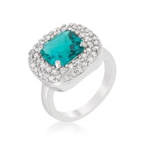 Rhodium Plated Bridal Cocktail Ring with Cushion Cut Aqua Blue Cubic Zir... - $20.59