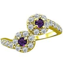 .96 tcw Natural Amethyst Diamond 2 Stone Twist Unique Ring 14k Y Gold PL... - £209.49 GBP