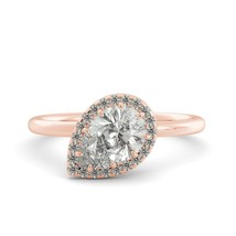 1.90 ct Pear Classic Moissasnite Round Diamond Unique Engagement Ring 14k R Gold - $1,185.00