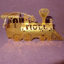 Vintage Train NOEL Gold Tone Brass Metal Christ... - $6.99