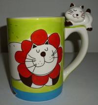 Kitty Cat Flower Kitty Cat on The Handle Coffee Mug Indra - $39.99