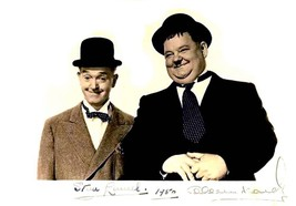 LAUREL and HARDY funny men autographed reprint 5 x 7 Slapstick Humor - $1.88