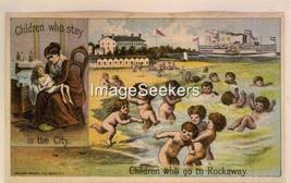 Sandy Beach Fall River, Mass kids playing photo reprint 4 x 6 - $3.79
