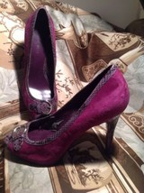 WOMEN'S NINE WEST POPICONO HIGH HEEL PUMPS PURPLE SUEDE W/ REPTILE HEELS... - $19.78