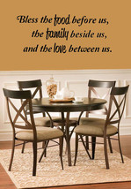 Bless the food family love vinyl wall quote Dining Room Kitchen - $13.72