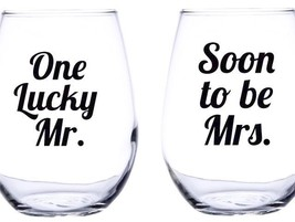 One Lucky Mr and Soon To Be Mrs. Wine Glass Engagement  Wedding - £13.13 GBP