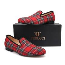 FERUCCI Scottish Red Custom-made Linen Slippers Loafers  - $149.99