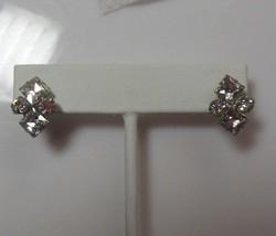 Vintage Signed Kramer N.Y. Clear Rhinestone Screw Back Earrings  - $18.80