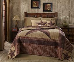 3-pc Landon Luxury California King -Quilt & Shams- Red, Brown, Khaki -Texas Star