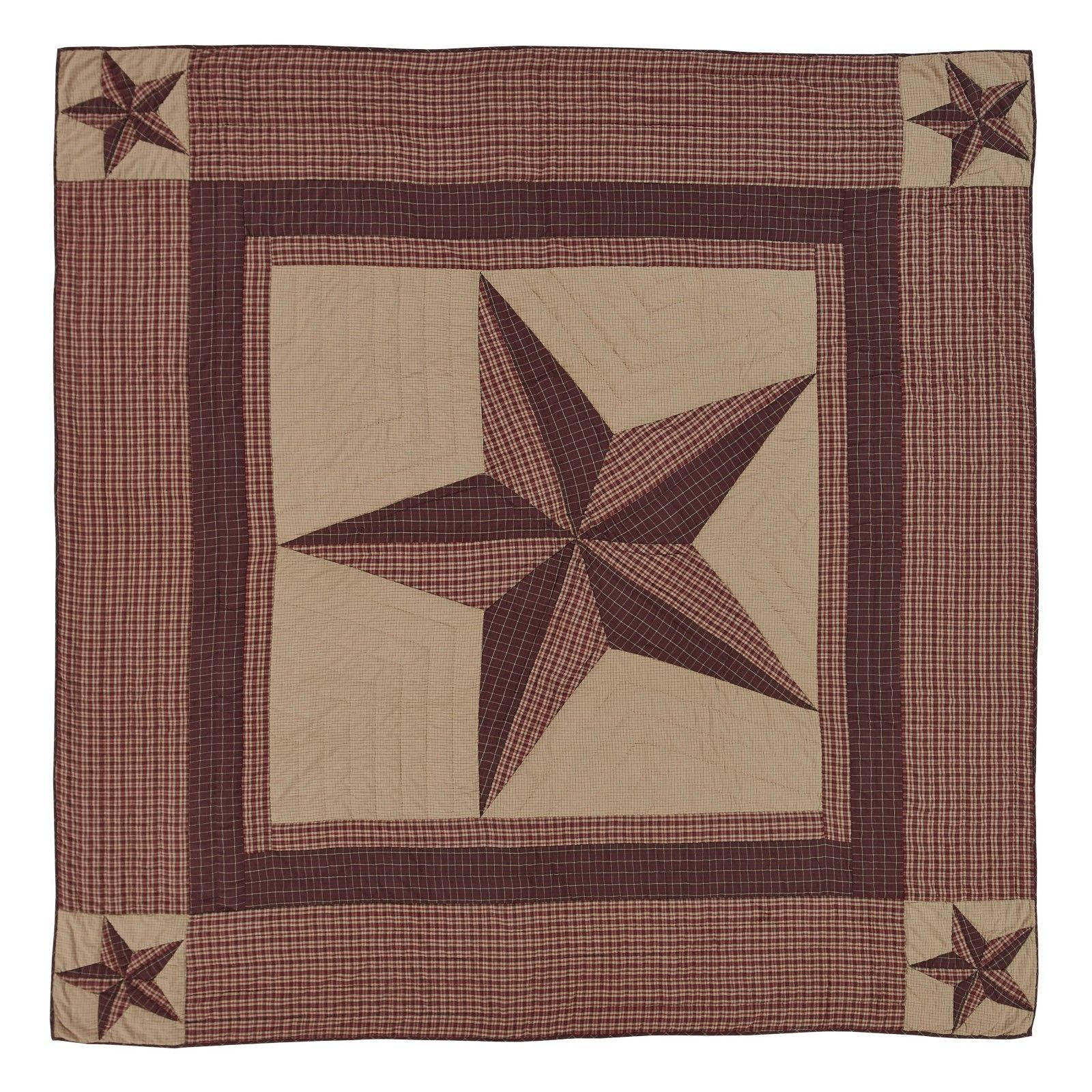 California King - Landon - VHC - Patchwork Quilt - Red, Brown, Khaki -Texas Star