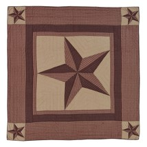Landon Luxury California King Quilt - Patchwork Texas Star - Red, Brown, Khaki