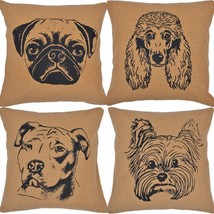 "16"" Dog Pillows - Soft Burlap Natural - Choose from 4 Breeds! - VHC Brands"