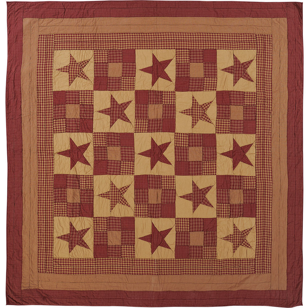 Ninepatch Star Burgundy & Tan Luxury California King Quilt -Pretty VHC Patchwork