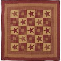 Ninepatch Star Burgundy & Tan Luxury California King Quilt -Pretty VHC Patchwork