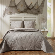 3-pc Queen - Harbour Grey - Patchwork Coastal Quilt and Shams - Ogee Waves