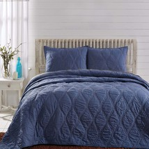 3-pc King - Harbour Navy - VHC - Patchwork Coastal Quilt and Shams - Ogee Waves