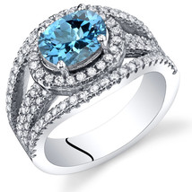 Women's Sterling Silver Genuine Swiss Blue Topaz Oval Halo Ring - $162.40 CAD