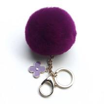 Electric Purple fur pom pom keychain REX Rabbit... - $14.95