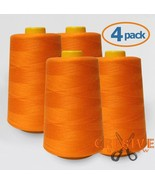 4-Pack ORANGE Cone Thread 4000 Yards Each - Polyester Thread for Sewing ... - $21.51