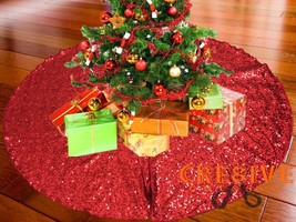 "52"" RED Christmas Sequin Tree Skirt - Sparkly Glittery Xmas Tree Skirt - $44.05"