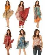 Lot of 3 - Reversible Indian Vintage Silk Sari Magic Wrap Skirts Kariza ... - $19.55+