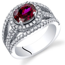 Women's Sterling Silver Oval Ruby Halo Ring - $162.40 CAD
