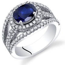 Women's Sterling Silver Oval Blue Sapphire Halo Ring - $129.99