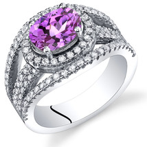 Women's Sterling Silver Oval Pink Sapphire Halo Ring - $129.99