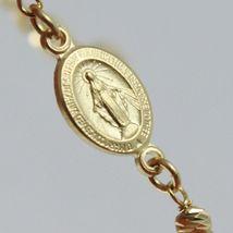 Bracelet en or Jaune 750 18K, Rolo, Billes à Facettes Médaille Miraculeuse image 4