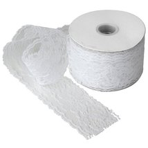 """2"""" wide x 25 yards White Floral Pattern Lace Ribbon for Decorating, Flor... - $11.03"""