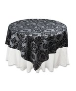 """60"""" x 60"""" Two Tone Damask Flocked Square Table Top Cover Overlay For Hom... - $19.55"""