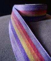 "AK-Trading 1.5"" Inches X 10 Yards Vintage Cloth Striped Rainbow Ribbon (Purple) - $14.65"