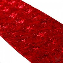 Koyal 15 by 116-Inch Satin Rose Embroidered Table Runner, Red - $19.55