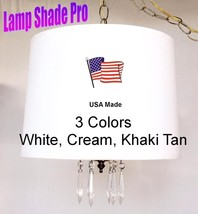 White or Cream Linen & Crystals Drum Swag Lamp USA Made in America by La... - $128.69