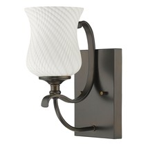 Evelyn ORB Bronze & Glass Shade Wall Sconce Bathroom Vanity Light Lamp 5... - $96.53