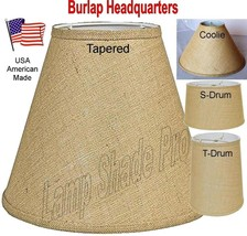 "Burlap Lamp Shades USA Made in America - 18 Styles Sizes 8-24"" Wide, Tap... - $59.39"