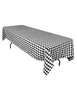 LinenTablecloth 60 x 126-Inch Rectangular Polyester Tablecloth Black & W... - $16.42