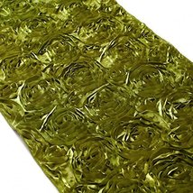 Koyal 15 by 116-Inch Satin Rose Embroidered Table Runner, Olive Green - $23.47