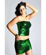 Women's Sexy Sparkly Sequin Tube Top or Mini Skirt - GREEN - $19.55