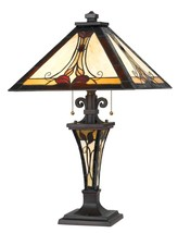 Tiffany Stained Glass Table Lamp Cream Gold Red Amber Crystal Stained Gl... - $262.34
